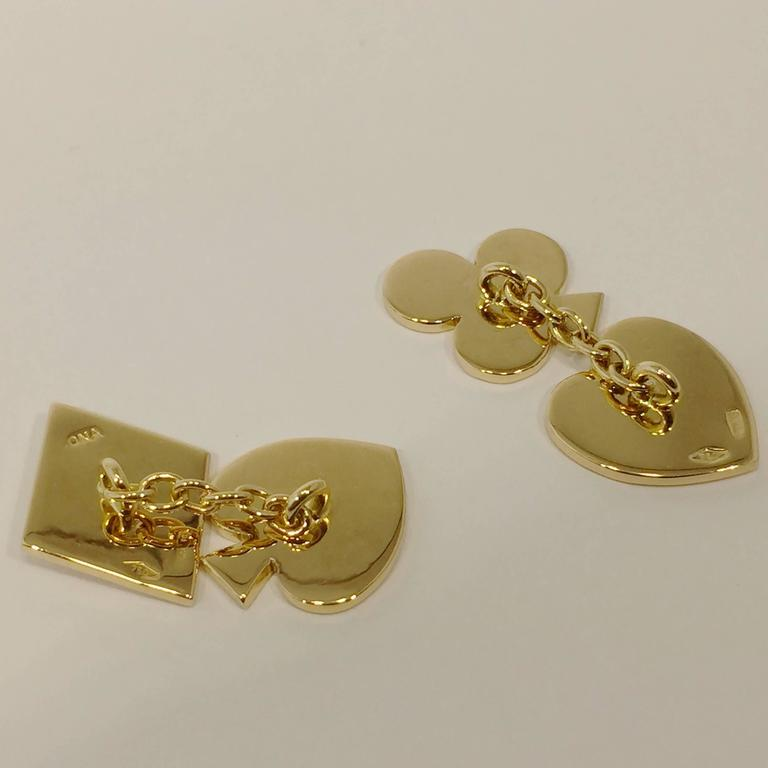 Jona design collection, hand crafted in Italy, 18 karat yellow gold card suits shaped cufflinks. All Jona jewelry is new and has never been previously owned or worn. Each item will arrive at your door beautifully gift wrapped in Jona boxes, put