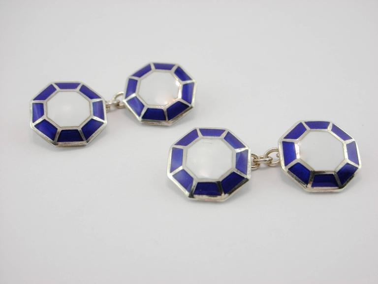 Jona Sterling Silver Enamel Octagonal Cufflinks In New Condition For Sale In Torino, IT