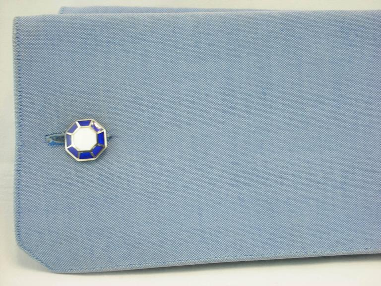 Jona design collection, hand crafted in Italy, octagonal-shaped 925/°°° sterling silver cufflinks with blue and white enamel. Marked JONA.  All Jona jewelry is new and has never been previously owned or worn. Each item will arrive at your door