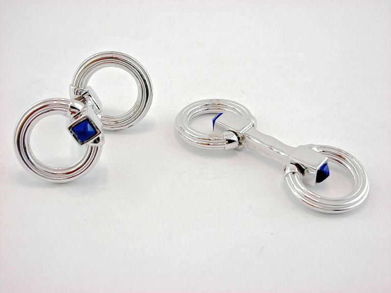 Jona Sterling Silver Double Ring Folding Cufflinks In New Condition For Sale In Torino, IT