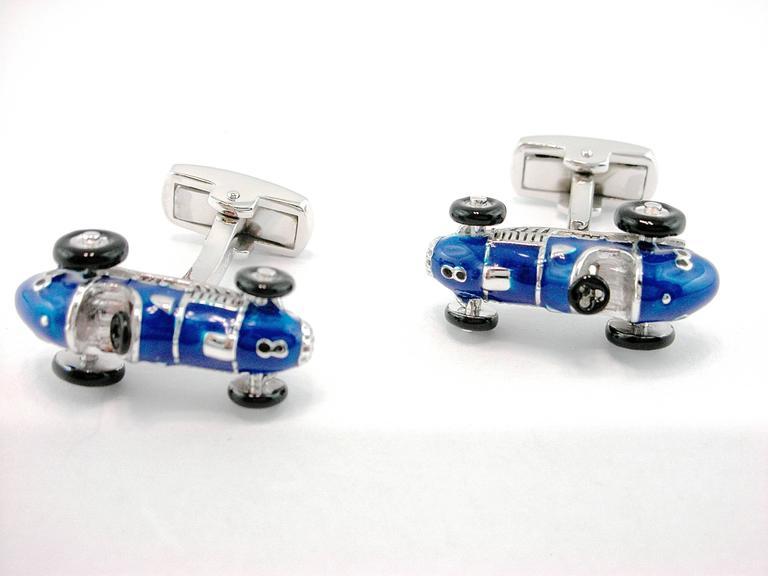 Jona Sterling Silver Blue Enamel Vintage Sports Car Cufflinks In New Condition For Sale In Torino, IT
