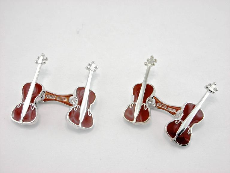 Jona Violoncello Sterling Silver Cufflinks In New Condition For Sale In Torino, IT
