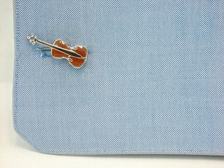 Jona design collection, hand crafted in Italy, rhodium plated sterling silver, enamel Violoncello shaped cufflinks. Marked JONA 925.  All Jona jewelry is new and has never been previously owned or worn. Each item will arrive at your door beautifully