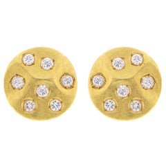Jona White Diamond 18 Karat Yellow Gold Stud Earrings