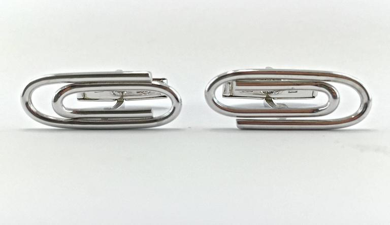 Jona Sterling Silver Paperclip Cufflinks In New Condition For Sale In Torino, IT