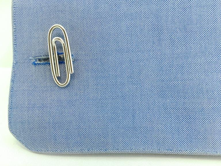 Jona design collection, hand crafted in Italy, Sterling silver paperclip cufflinks with toggle back. Marked