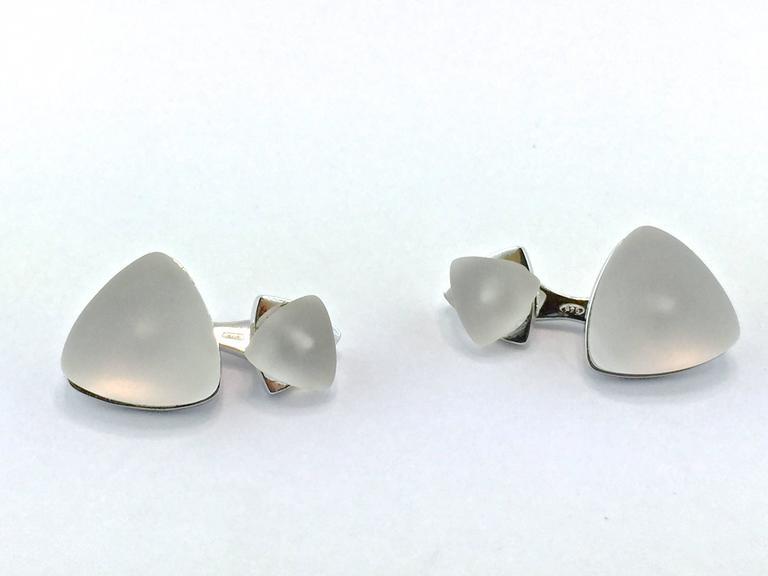 Trillion Cut Jona Rock Crystal Geometric Sterling Silver Cufflinks For Sale