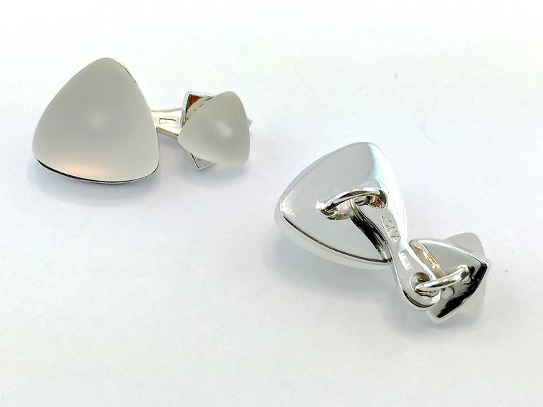 Jona Rock Crystal Geometric Sterling Silver Cufflinks In New Condition For Sale In Torino, IT