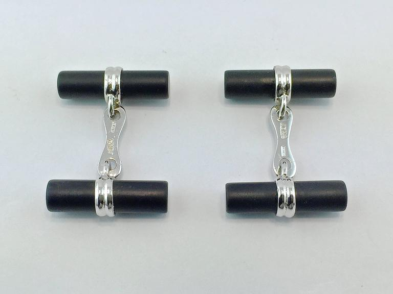 Jona Onyx Sterling Silver Cufflinks In New Condition For Sale In Torino, IT