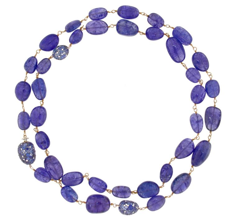 Jona design collection, 32 inch / 81cm long sautoir necklace, adorned with 37 tanzanite polished pebbles of different sizes for total 331,80 carats, linked with 18 Karat rose gold and three 18 Karat white gold pebbles set with blue sapphire (7.30