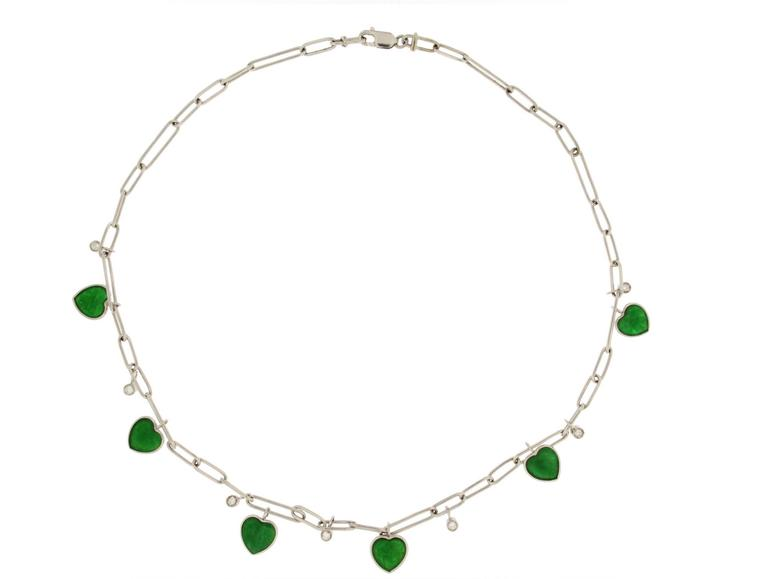 Jona Jade Heart Diamond White Gold Chain Necklace 2