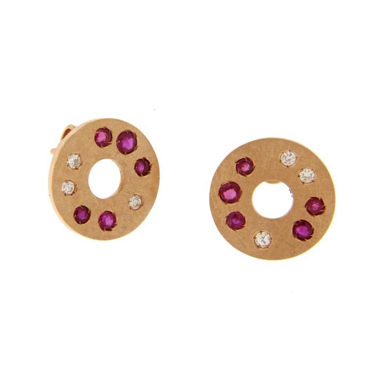 Jona Ruby Diamond 18 Karat Rose Gold Stud Earrings For Sale 1