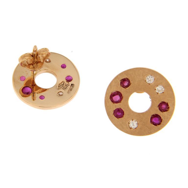 Jona Ruby Diamond 18 Karat Rose Gold Stud Earrings In New Condition For Sale In Torino, IT