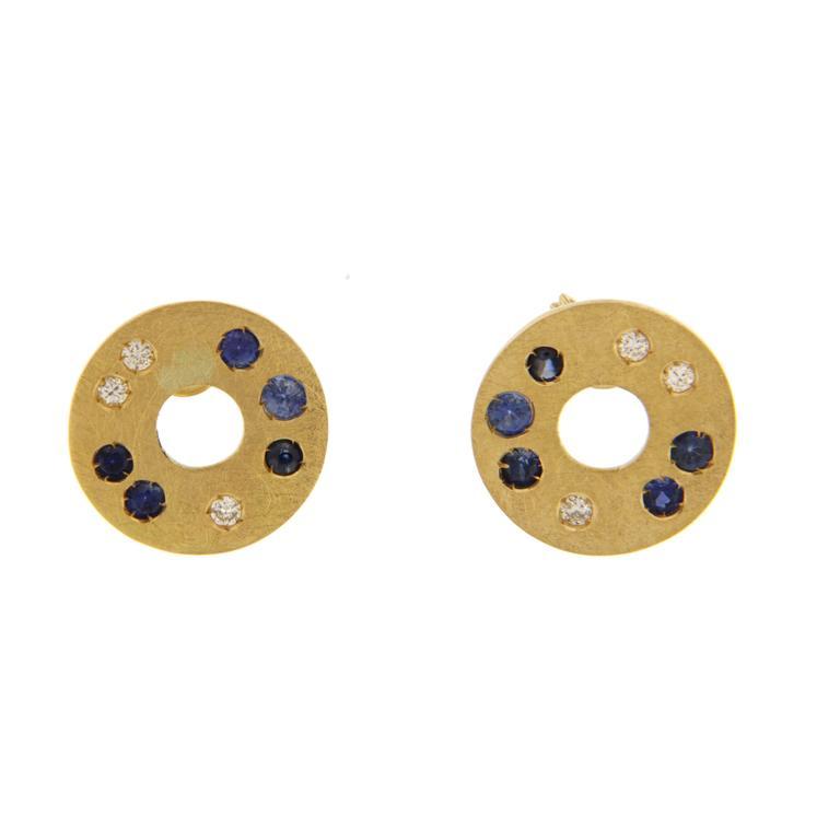 Jona Blue Sapphire Diamond Gold Stud Earrings 1
