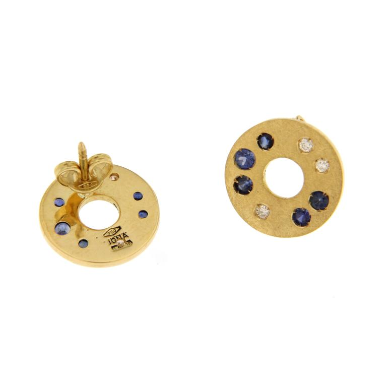 Jona design collection, hand crafted in Italy, 18 karat brushed yellow gold stud earrings set with brilliant cut white diamonds (ct. 0.19) and blue sapphires (ct. 0.56).  All Jona jewelry is new and has never been previously owned or worn. Each item