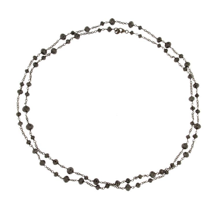 Jona Black Diamond Bead Long Necklace in Burnished 18k White Gold