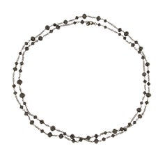 Alex Jona Black Diamond Bead Long Necklace Burnished 18 Karat White Gold