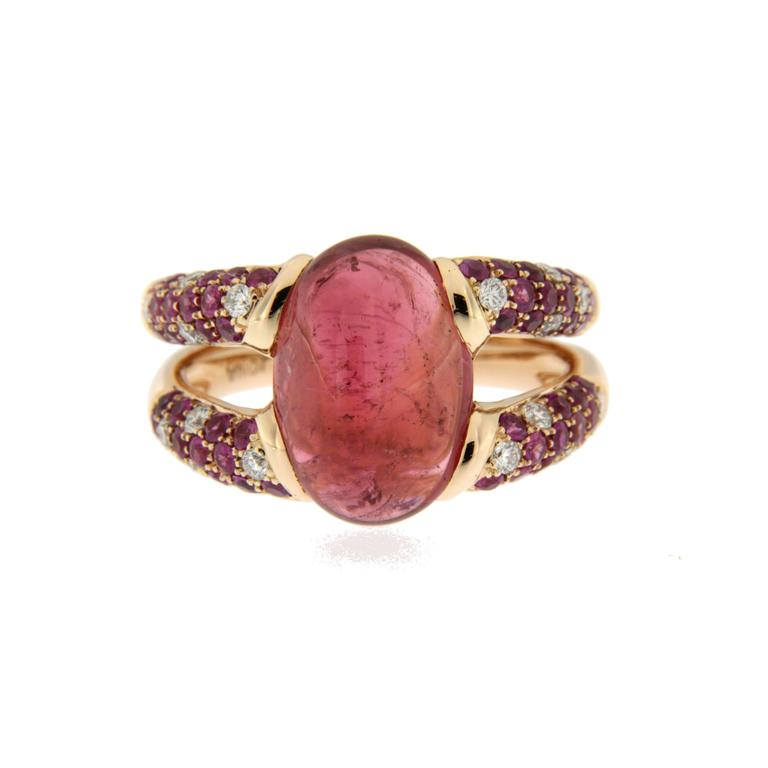 Contemporary Alex Jona Pink Tourmaline Sapphire 18k Rose Gold Ring For Sale