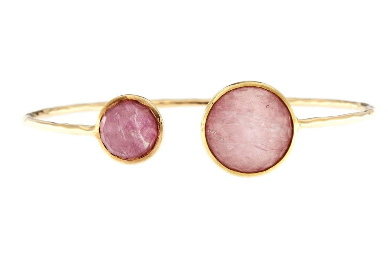Jona Morganite Mother-of-Pearl Rock Crystal Gold Bracelet For Sale 5