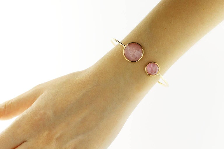 Jona design collection, hand crafted in Italy, 18 Karat rose gold, rock crystal over morganite and Mother of pearl crazy cut bangle bracelet, weighing 12.35 carats in total. Can be sized to any specification.