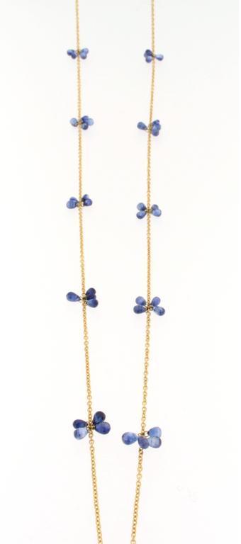 Jona Blue Sapphire Gold Long Chain Necklace 2