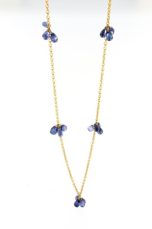 Jona Blue Sapphire Gold Long Chain Necklace 3