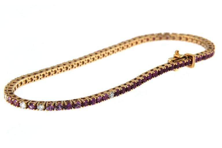 Women's Jona Pink Sapphire White Diamond 18 Karat Rose Gold Tennis Bracelet For Sale