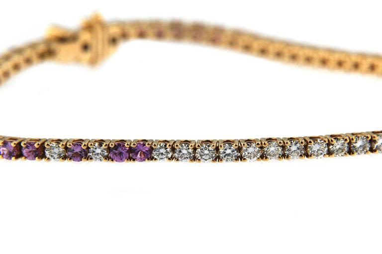 Jona Pink Sapphire White Diamond 18 Karat Rose Gold Tennis Bracelet For Sale 1