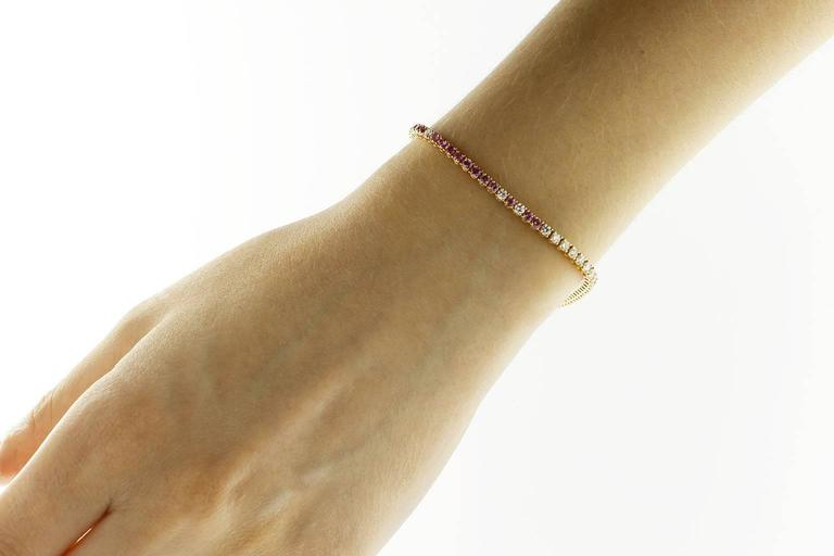 Jona design collection, hand crafted in Italy, 18 karats rose gold tennis bracelet (7