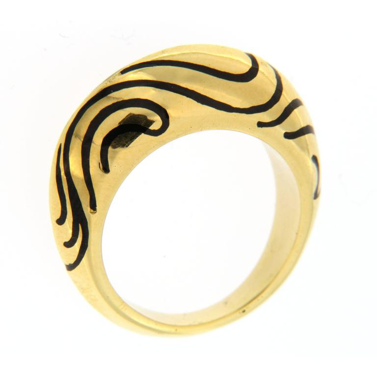 Jona Black Enamel 18k Yellow Gold Dome Ring