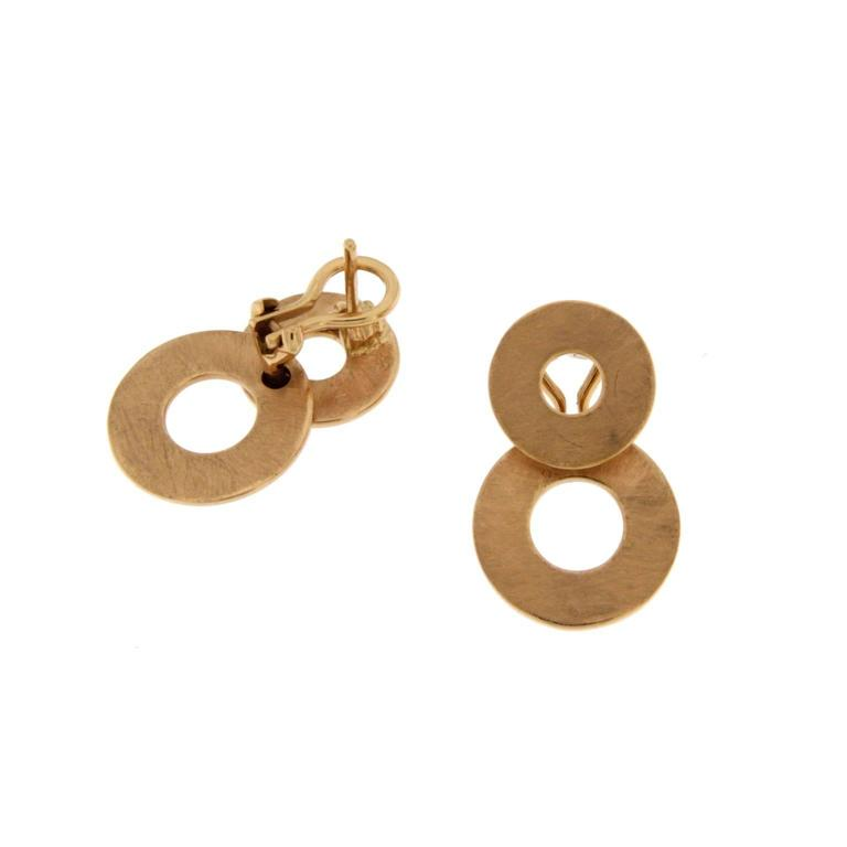 Jona 18 Karat Brushed Rose Gold Dangle Clip-on Earring Pendants In New Condition For Sale In Torino, IT