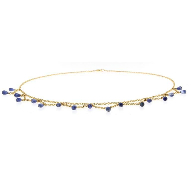 Bead Jona Blue Sapphire 18 Karat Yellow Gold Necklace