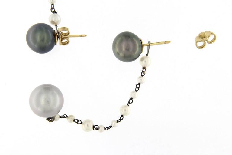 Jona South Sea Pearl 18K White Gold Dangle Earrings In As New Condition For Sale In Torino, IT