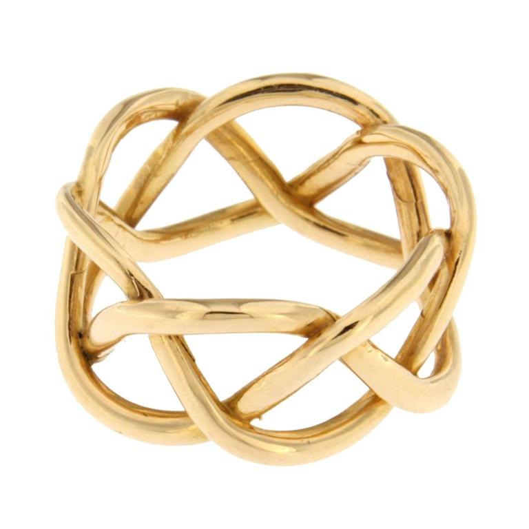 Jona 18 Karat Yellow Gold Twisted Band Ring In New Condition For Sale In Torino, IT