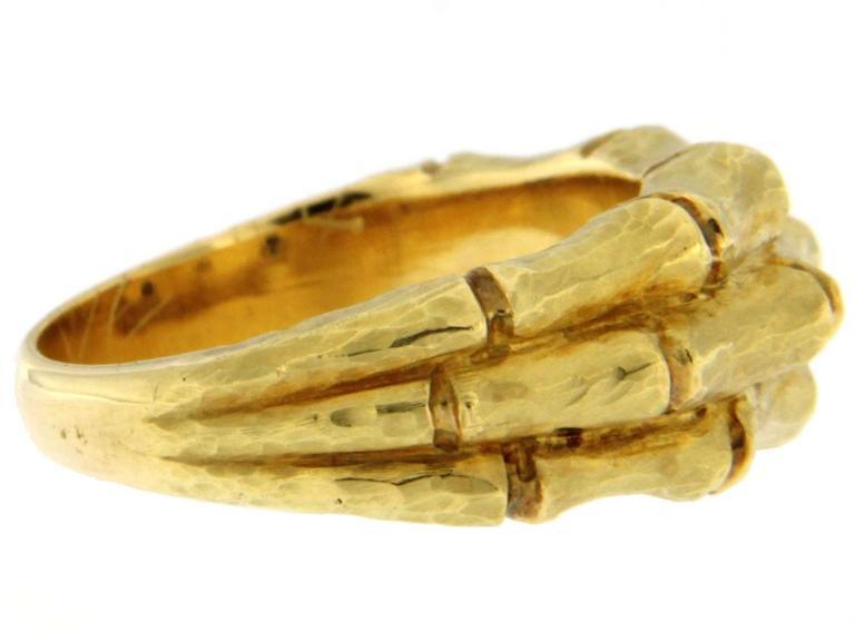 Jona Bamboo 18 Karat Yellow Gold Band Ring For Sale 1