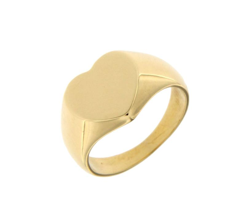 Jona design collection, 18 karat yellow gold heart shaped signet ring, fit to be worn on pinkie finger. Size US 3, can be sized to any specification.   All Jona jewelry is new and has never been previously owned or worn.