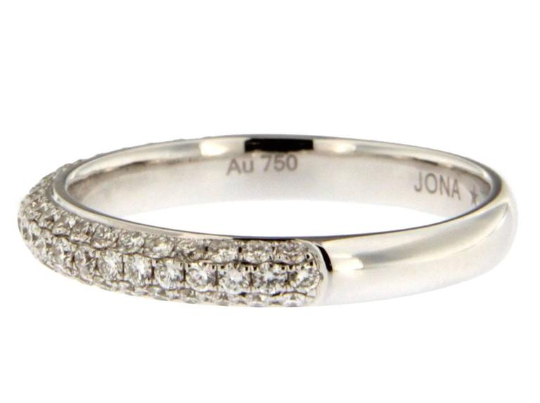 Women's Jona White Diamond 18 Karat White Gold Band Ring For Sale