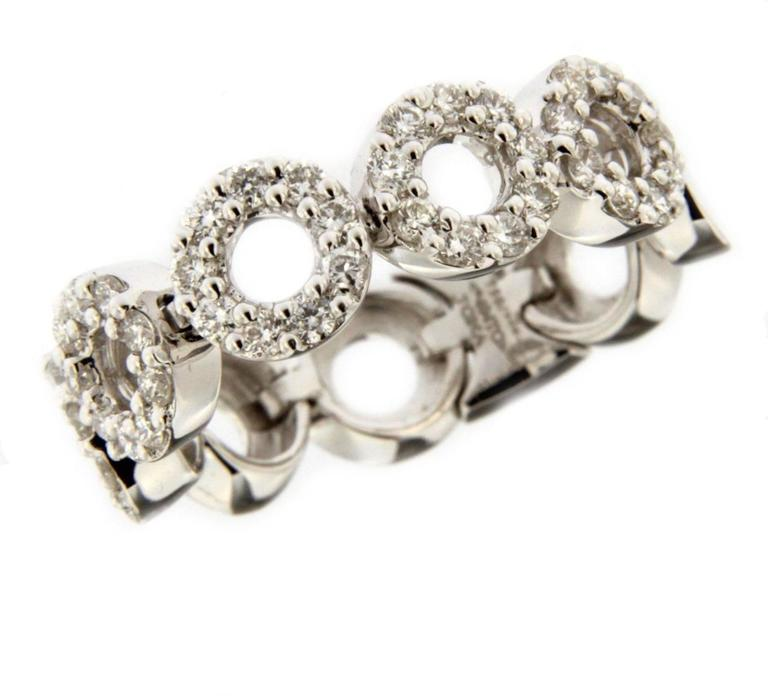 Jona White Diamond 18 Karat White Gold Flexible Band Ring In New Condition For Sale In Torino, IT