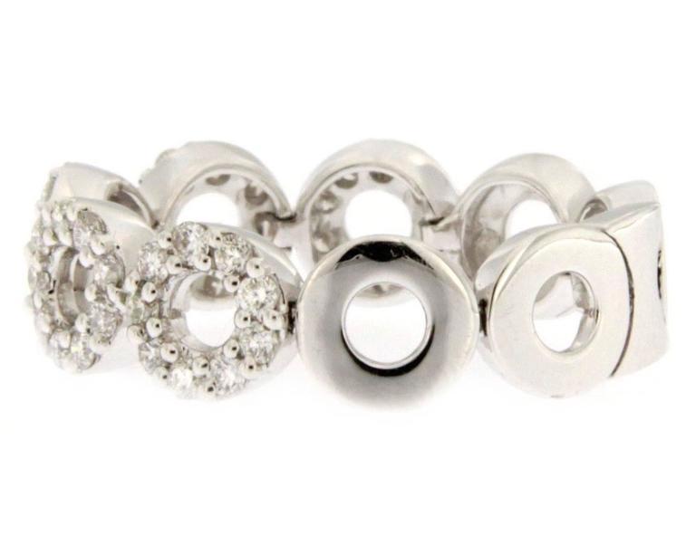 Women's Jona White Diamond 18 Karat White Gold Flexible Band Ring For Sale