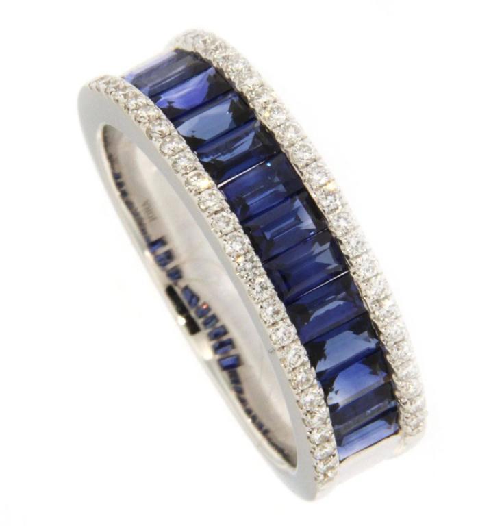 Baguette Cut Jona Blue Sapphire Diamond White Gold Band Ring For Sale