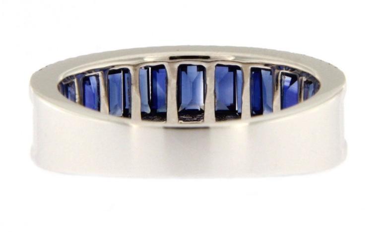 Jona Blue Sapphire Diamond White Gold Band Ring For Sale 1