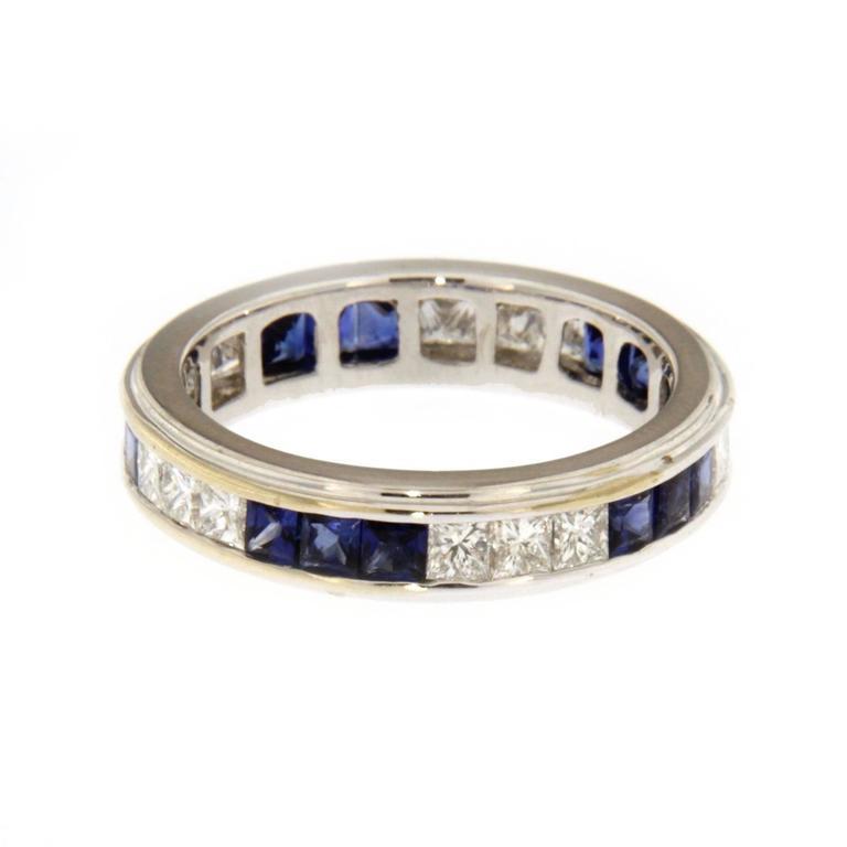 Women's Jona Blue Sapphire Diamond White Gold Band Ring For Sale