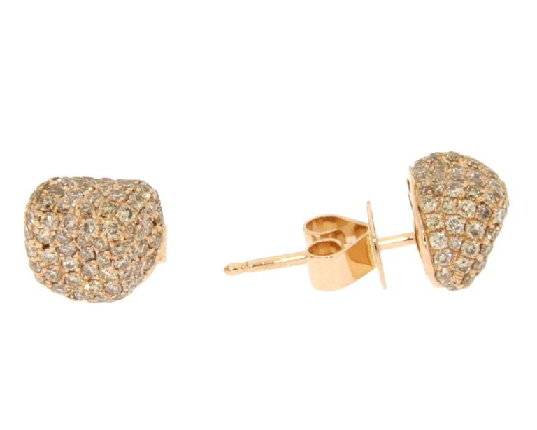 Women's Jona Brown Diamond 18 Karat Pink Gold Stud Earrings For Sale