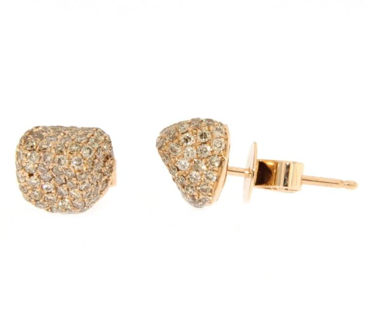 Jona Brown Diamond 18 Karat Pink Gold Stud Earrings For Sale 1