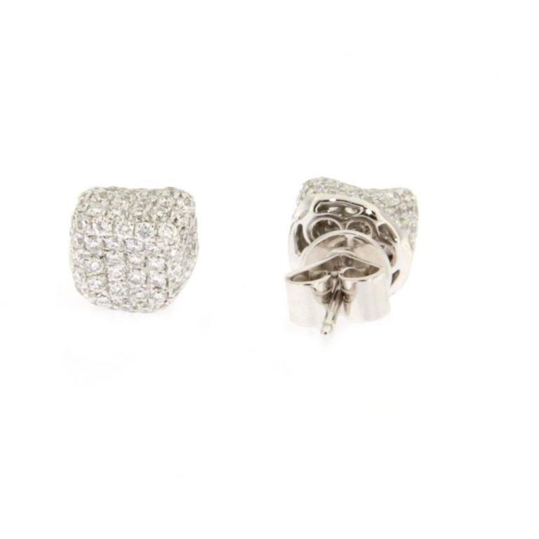 Jona White Diamond 18k White Gold Stud Pebble Earrings In New Condition For Sale In Torino, IT