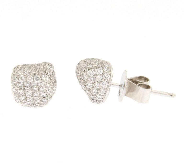 Women's Jona Diamond Pavé 18k Gold Stud Pebble Earrings For Sale