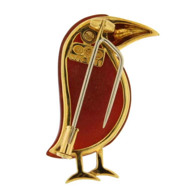 Jona Carnelian Diamond Gold Toucan Brooch 2