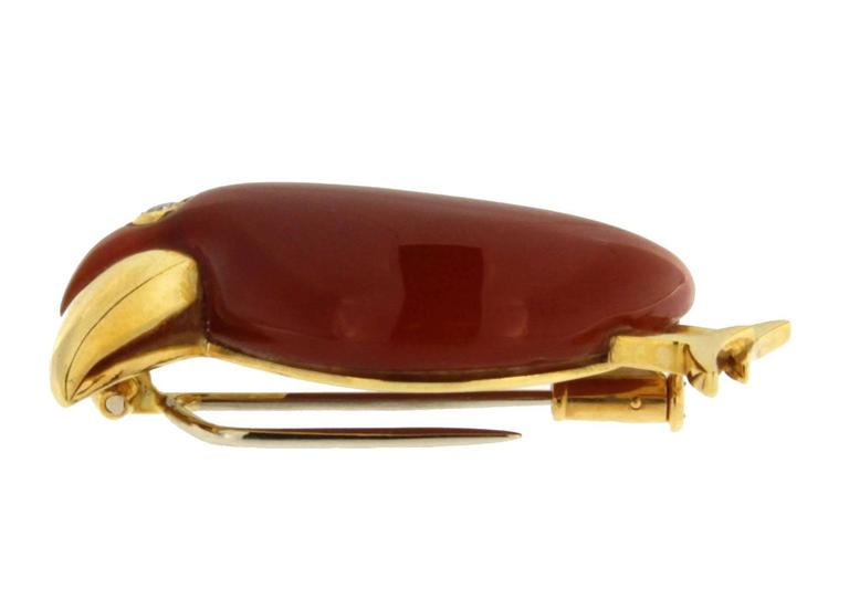 Jona Carnelian Diamond Gold Toucan Brooch 3