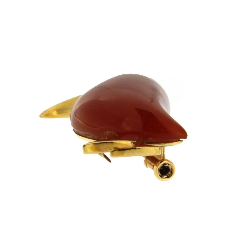 Jona Carnelian Diamond Gold Toucan Brooch 5