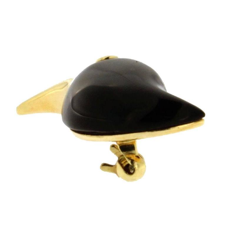 Jona Onyx White Diamond 18 Karat Yellow Gold Toucan Brooch In New Condition For Sale In Torino, IT